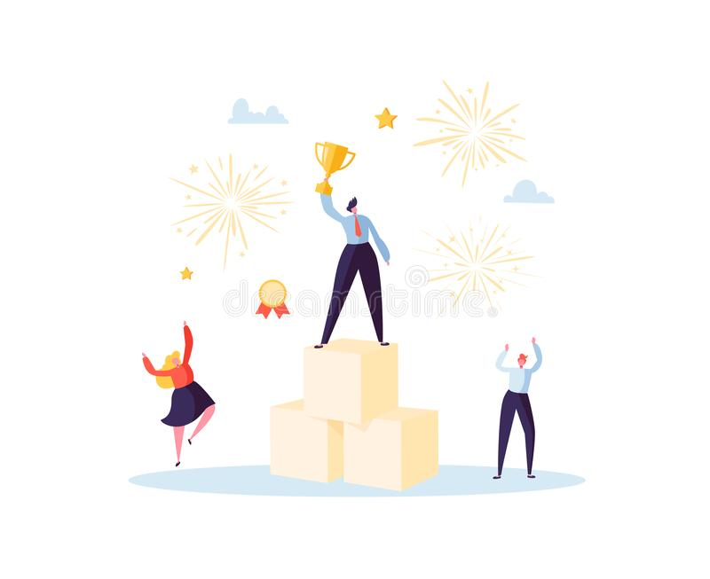 Successful Businessman with Prize on Podium. Business Success Teamwork Concept. Manager with Winning Trophy Cup. Leader. Man and Woman Celebrating Victory royalty free illustration