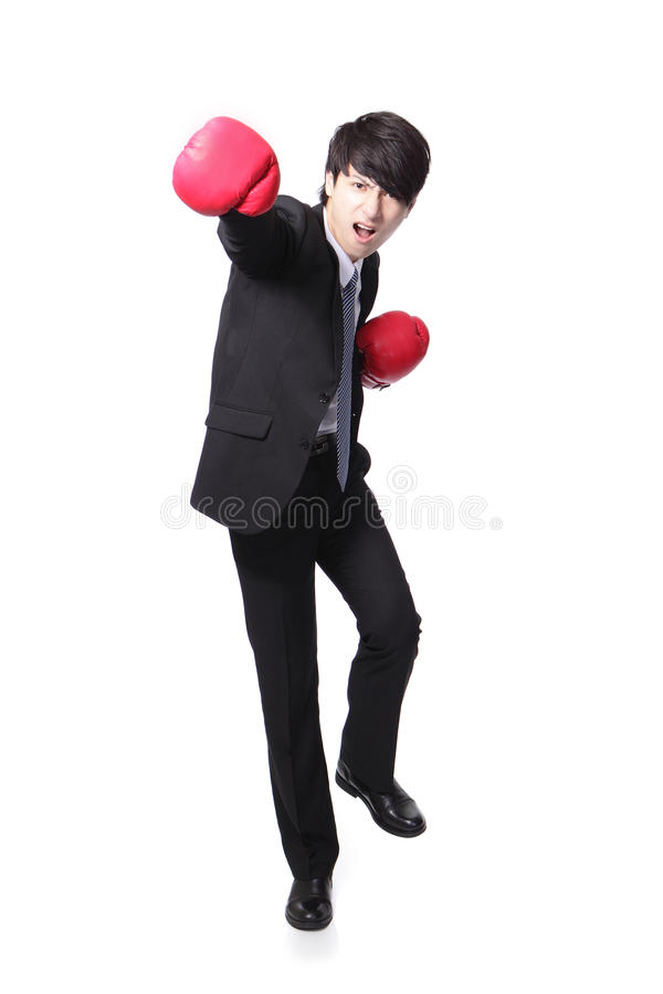 Successful businessman punching and hitting