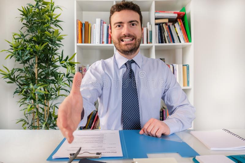 Successful businessman ready to sign a contract stock image