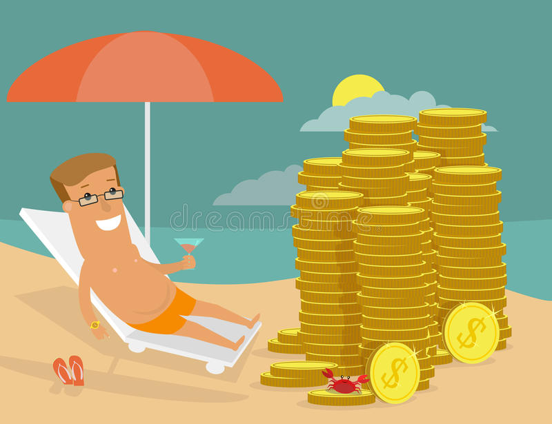 Successful businessman resting on the beach in front of his money. vector illustration