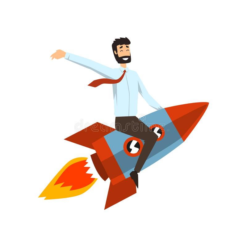 Successful businessman on a rocket, start up business project concept, development process vector Illustration on a royalty free illustration