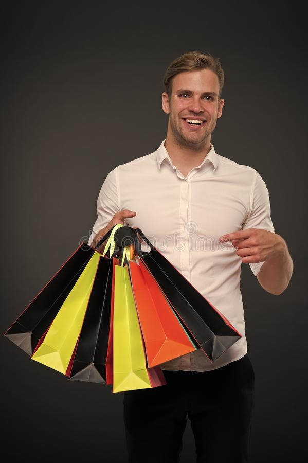 Successful businessman shopping online. Busy people appreciate online service. Shopping online. Purchase delivery. Businessman use shopping application. Man royalty free stock images