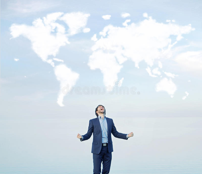 Successful businessman shouting to the world royalty free stock image