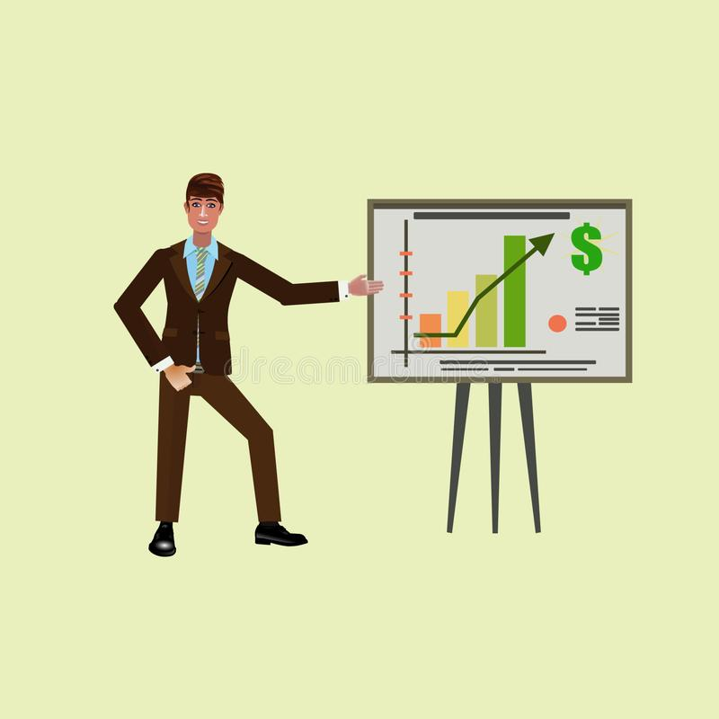 Successfull Businessman explain and pointing rise business. Successful Businessman show plan, how to raise income. Income in dollars for business. Businessman vector illustration