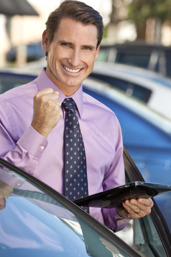 Successful Businessman with Tablet Computer stock photo