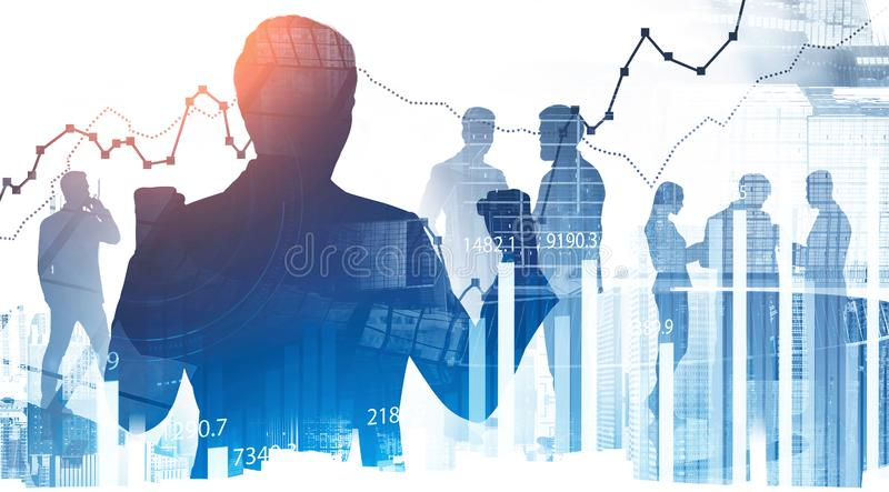 Successful businessman and team in city, chart royalty free stock images