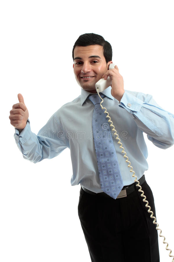 Successful businessman on telephone stock photo