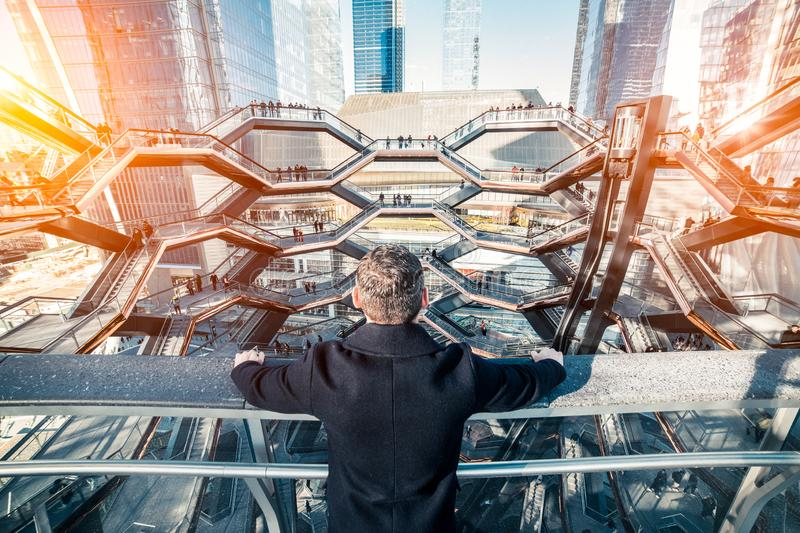 Successful businessman think about future finance development and business strategy look at the city. Successful businessman think about future finance stock photos