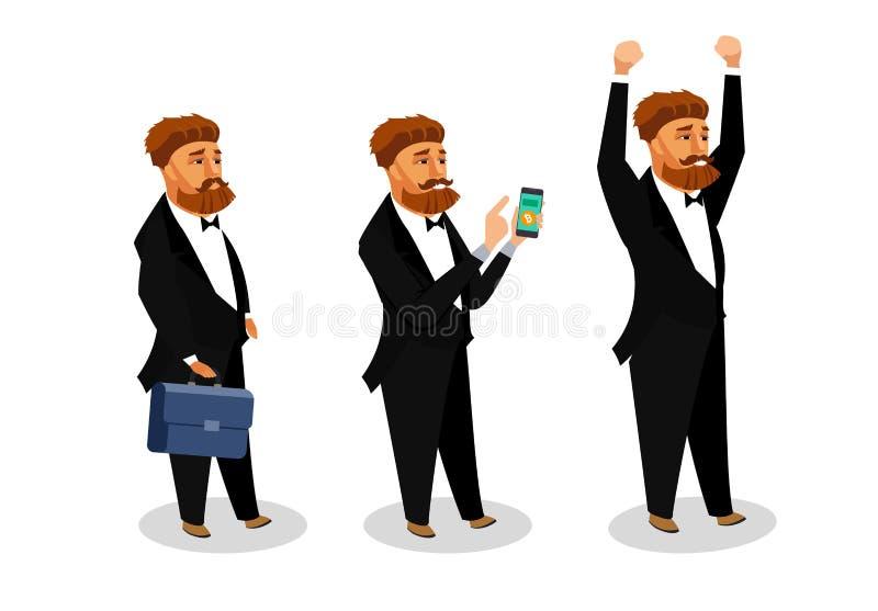 Successful Businessman Vector Illustrations Set royalty free illustration