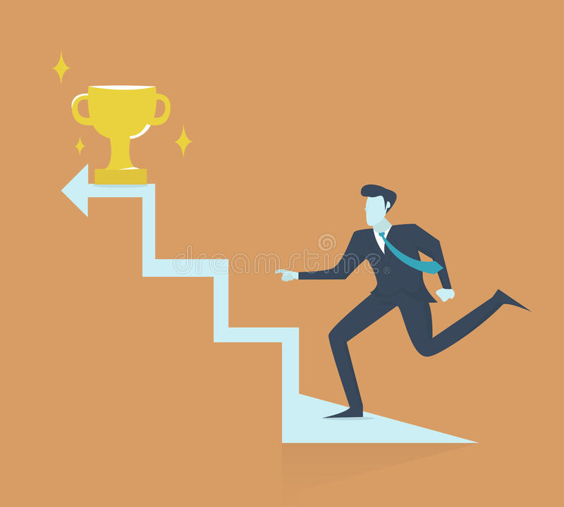Successful businessman walking up stairs to golden trophy as symbol of success.  royalty free illustration