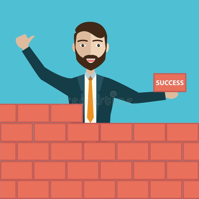 Successful businessman in yellow hard hat with trowel and bricks building a new business, for start-up theme design. vector illustration
