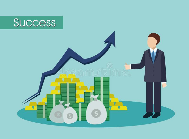 Successful businessmen with big money stock images