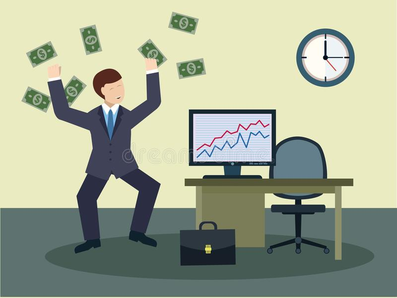 Successful businessmen with big money royalty free stock photography