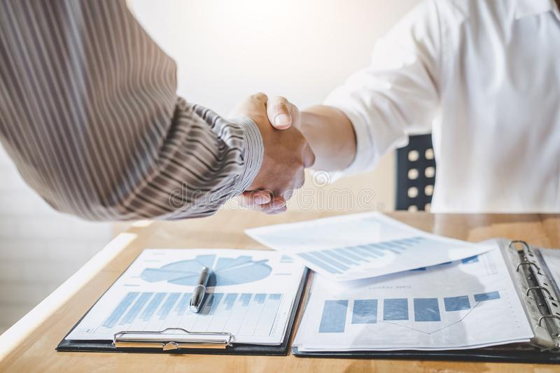 Successful of businessmen handshaking and business people after discussing good deal of trading contract, Business partnership. Meeting and greeting concept royalty free stock photography