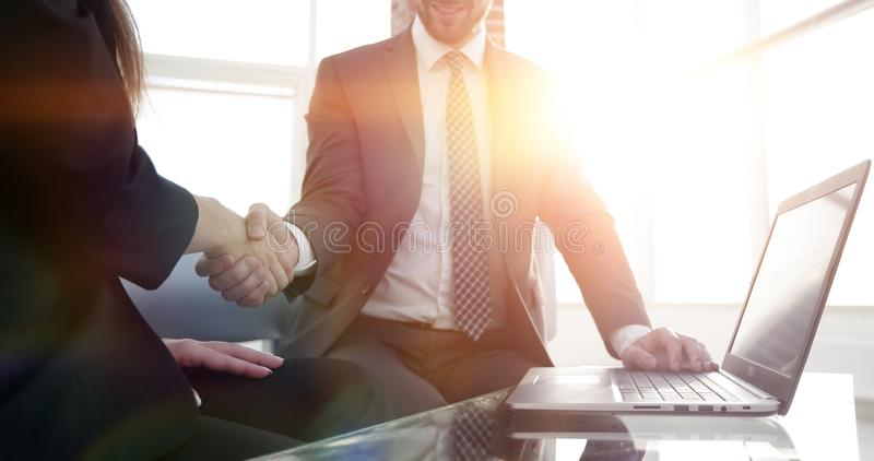 Successful businessmen handshaking after good deal. royalty free stock photos
