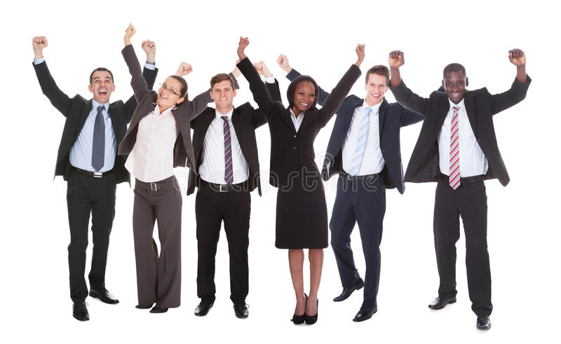 Successful Businesspeople With Arms Raised royalty free stock photos