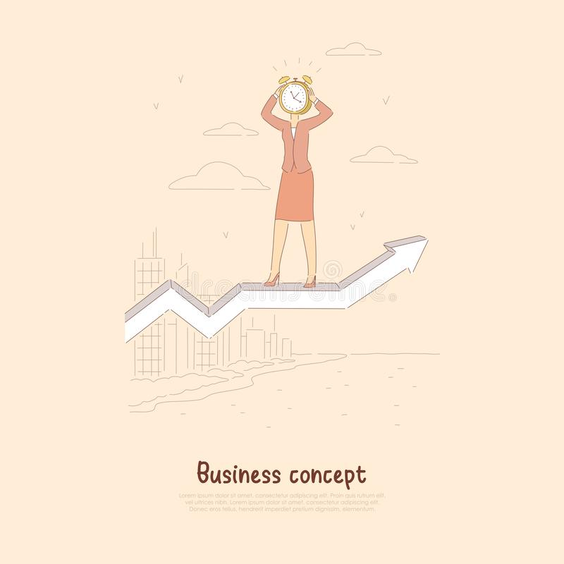 Successful businesswoman with alarm clock on head standing on rising arrow, surreal time management banner vector illustration