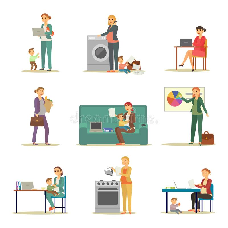 Successful Businesswoman and Excellent Mother Set. Successful businesswoman and excellent mother. Woman in suit does her job, takes care after baby and carries royalty free illustration