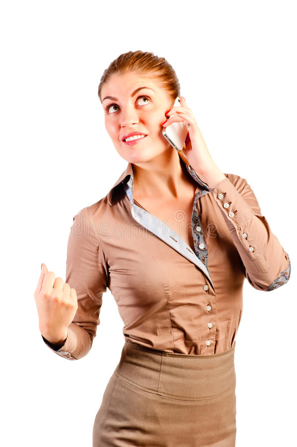 Successful businesswoman made a deal on phone. Successful businesswoman made a deal on the phone stock photos