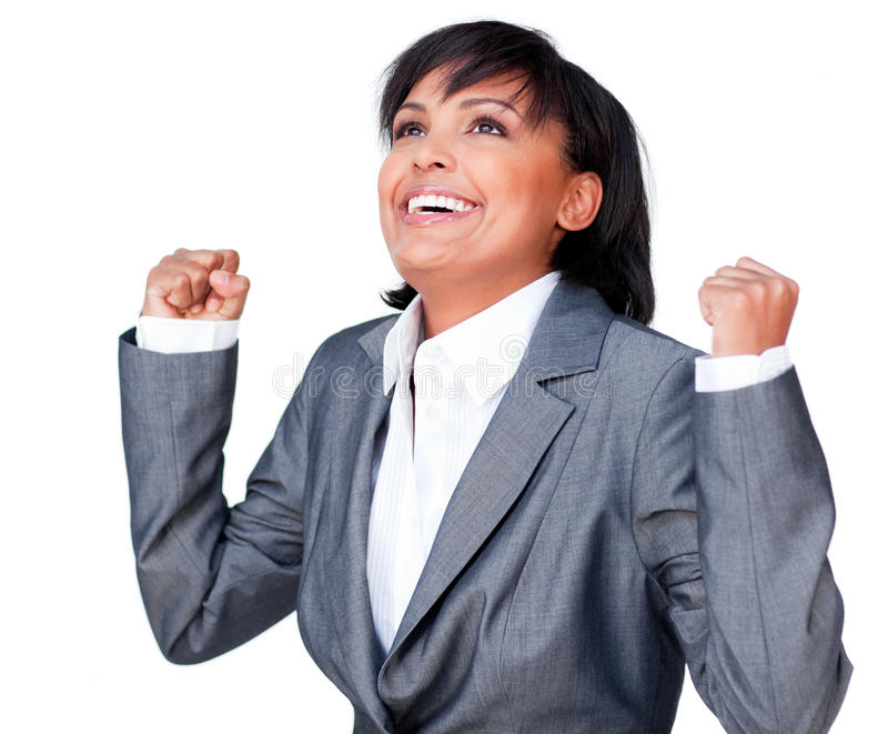 Successful businesswoman with open hands stock photo