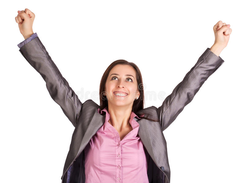 Download Successful Businesswoman Is Raising Her Hands Up Stock Photo - Image: 26802876