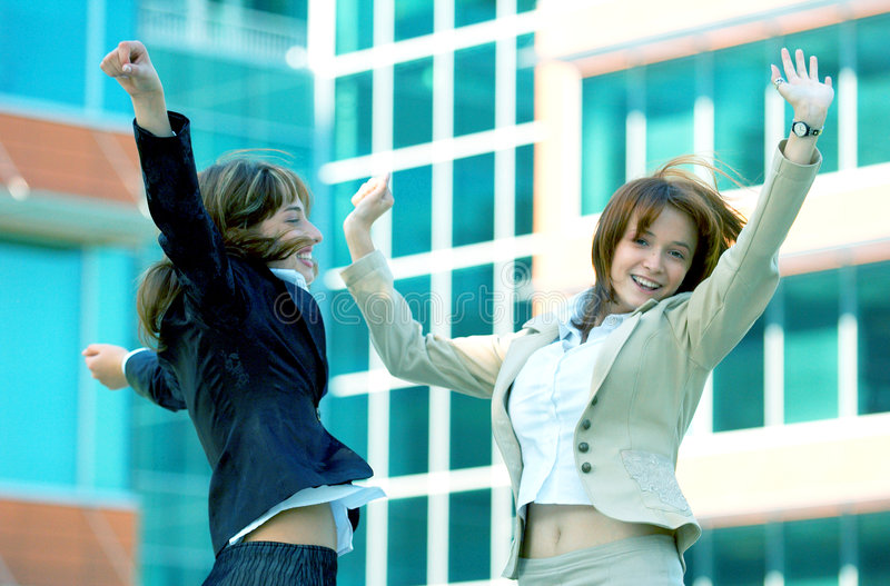Successful Businesswomen Blue Tint royalty free stock photography