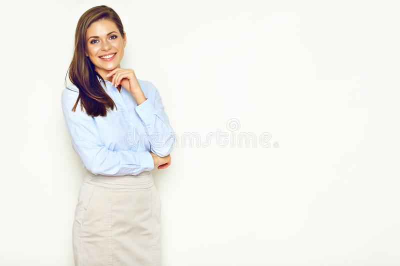 Successful busineswoman portrait on office wall background. Empty copy space stock image
