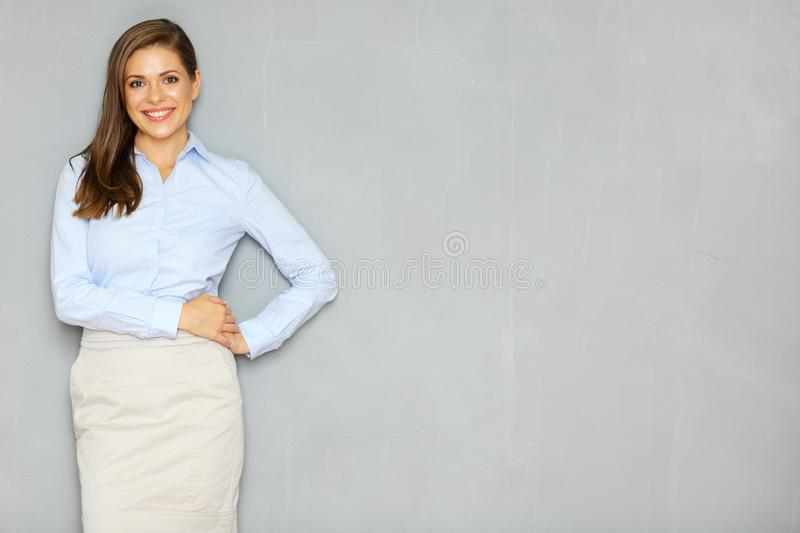 Successful busineswoman portrait on office wall background. Empty copy space royalty free stock photography