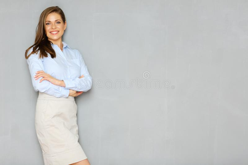Successful busineswoman portrait on office wall background. Empty copy space royalty free stock photos