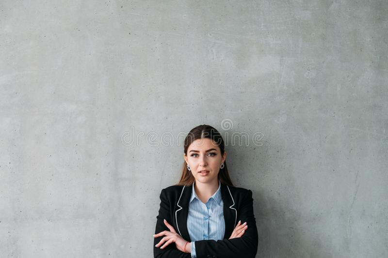 Successful career business woman stand copy space. Successful corporate career. Confident business woman standing with arms crossed. Copy space on grey royalty free stock photos