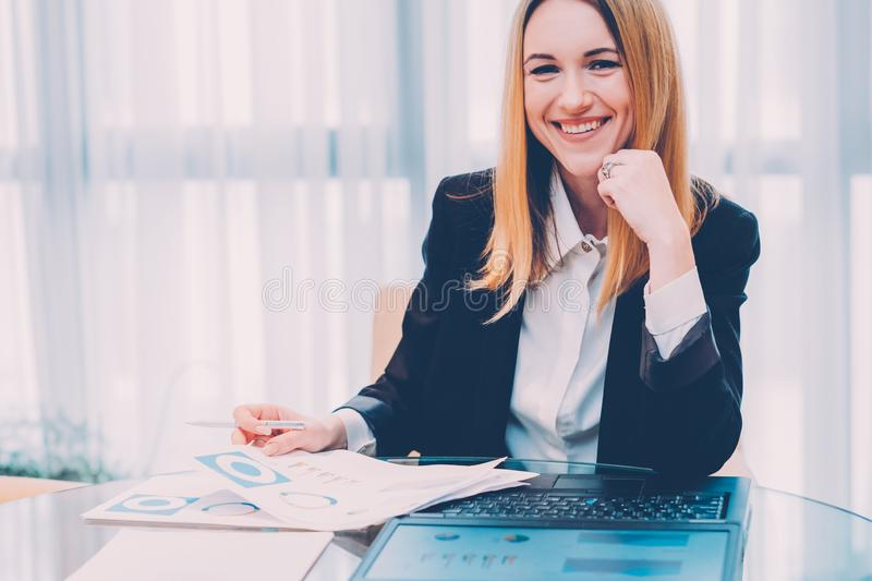 Successful career cheerful business lady graphs royalty free stock photos