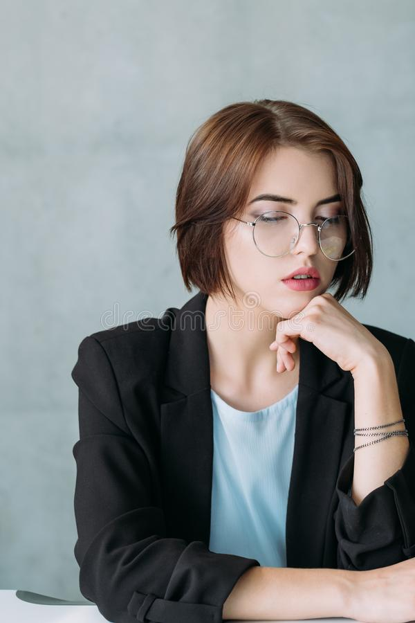 Successful career leader female business expert. Successful female leader. Confident well qualified employee. Business expert. Woman power in corporate world royalty free stock image