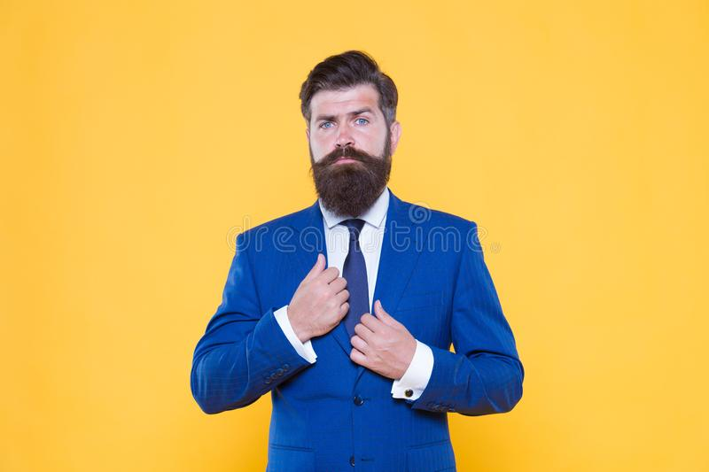 Successful and charismatic lawyer. leadership concept. life management. superior business solutions. businessman formal. Suit. bearded man corporate leader royalty free stock photography