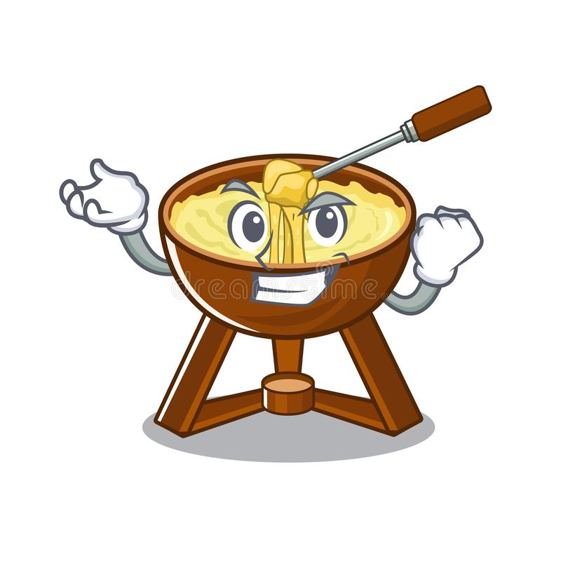 Successful cheese fondue with in mascot shape. Vector illustration royalty free illustration