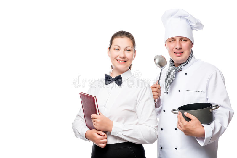 Successful chef and waitress in uniform on a white. Background royalty free stock photography