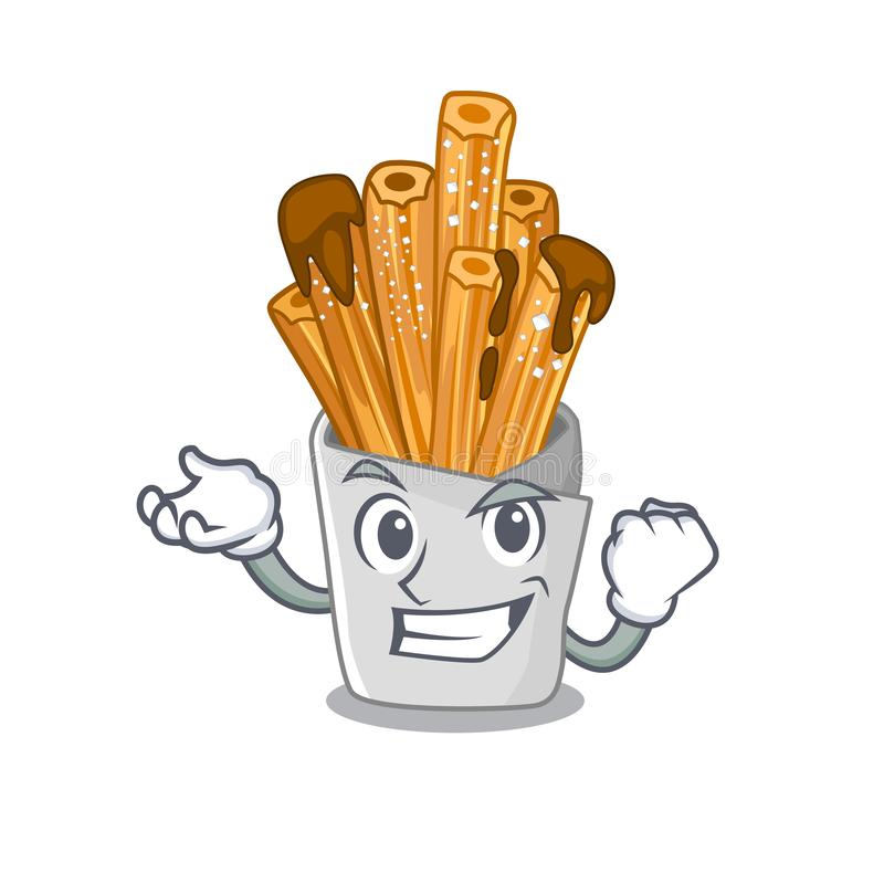 Successful churros isolated with in the cartoon. Vector illustration stock illustration