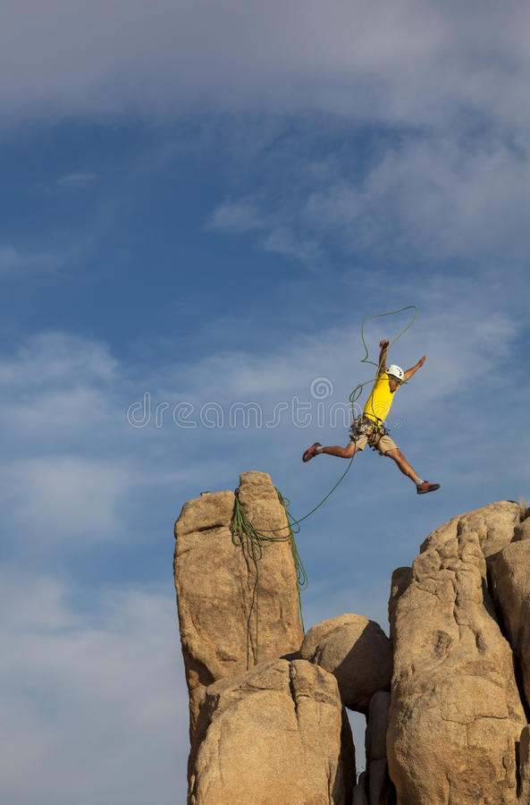 Successful climber at the top. stock images