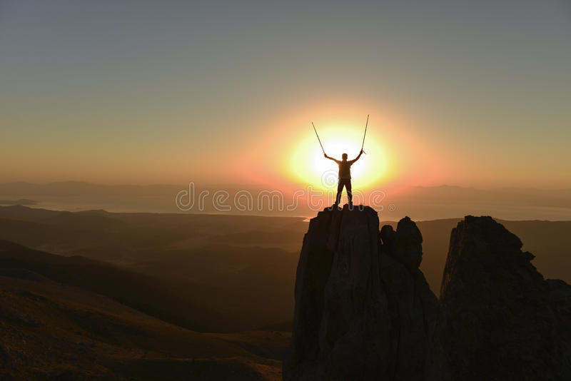 Successful climbers alone royalty free stock image