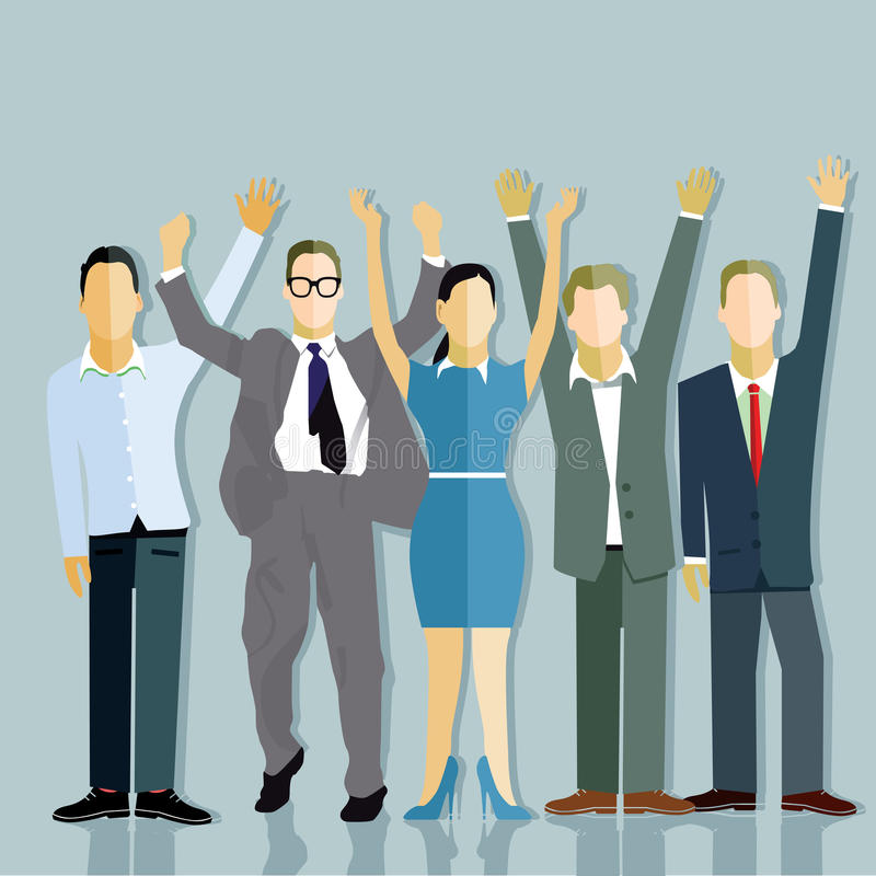 Successful companies. Business men and a woman waving and jumping in a successful company on grey