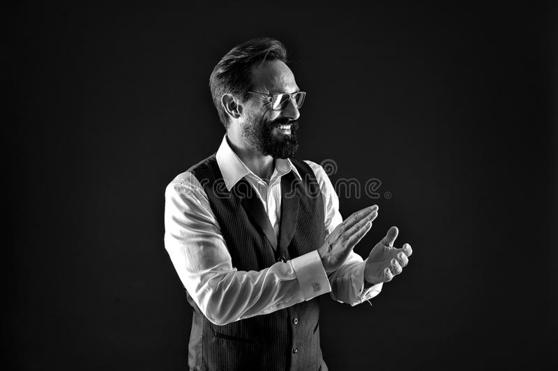 Successful concept. Successful man man clap hands. Happy businessman applaud to successful work. Successful and. Prosperous, black and white royalty free stock images