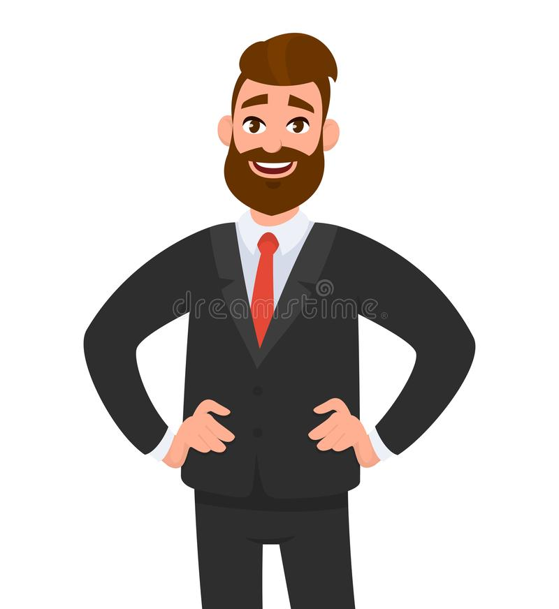 Successful confident happy businessman standing while smiling and holding hands on hips, wearing black formal suit and tie. vector illustration