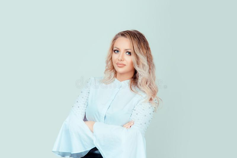 Successful confident woman in formal shirt stock photos