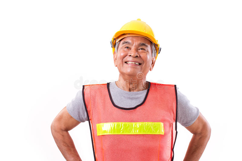 Successful construction worker or engineer looking up royalty free stock images
