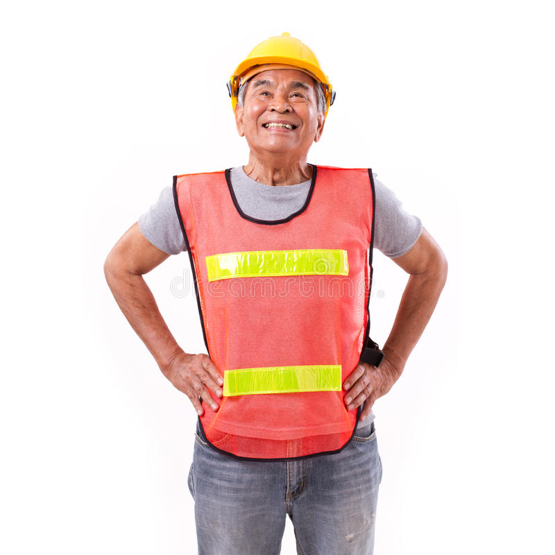 Successful construction worker or engineer looking up royalty free stock image