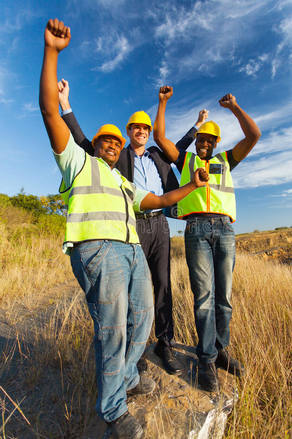 Successful construction workers royalty free stock photography