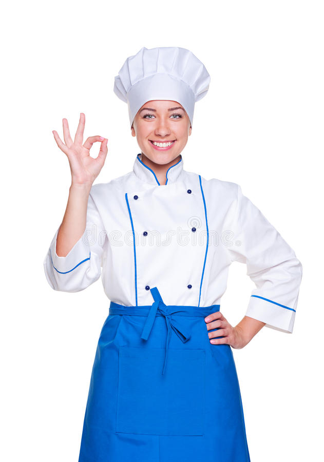 Successful cook in uniform. Portrait of successful cook in uniform over white background royalty free stock photos