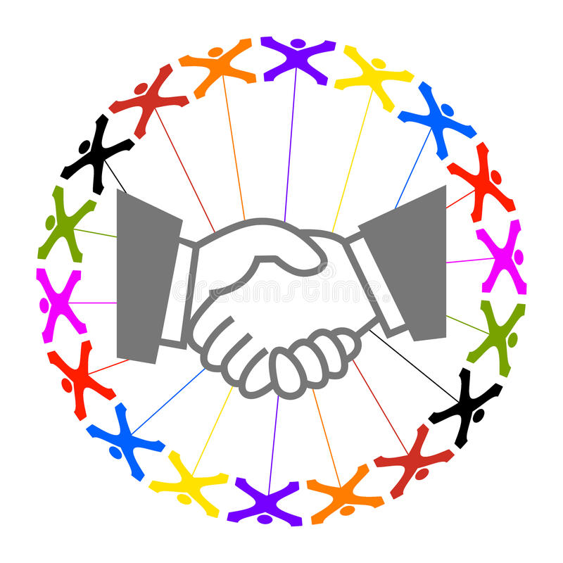 Successful cooperation. Circle of colorful abstract people with hand shaking sign vector illustration