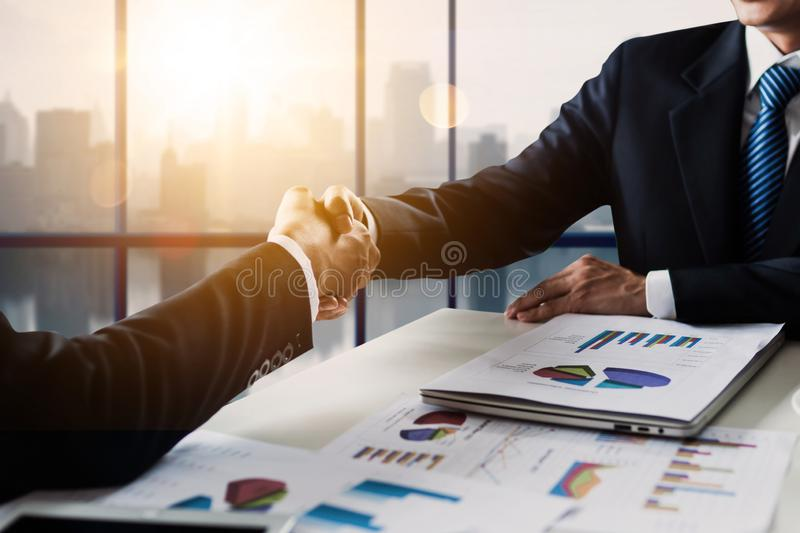Successful cooperation and confident partner concept, people shake hands with customer after successful agreement business. Team, teamwork, connection royalty free stock images