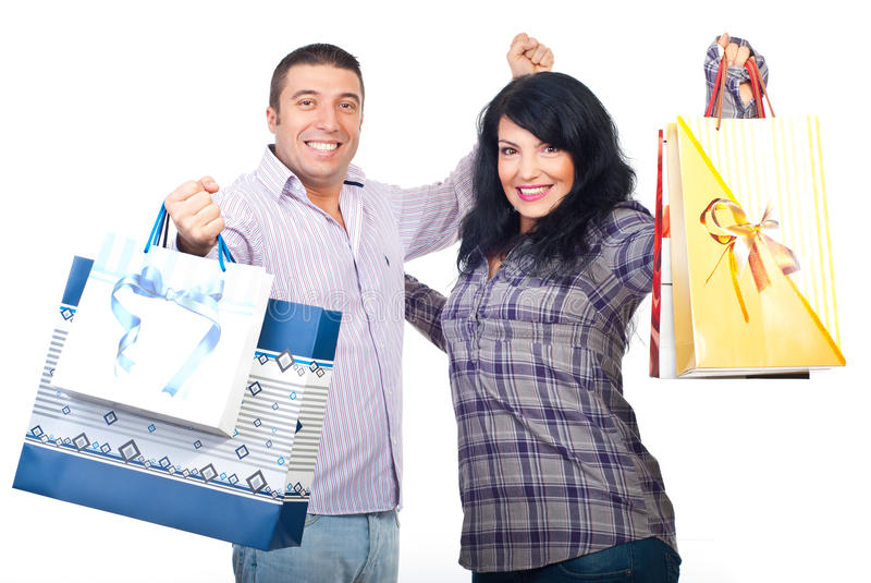 Successful couple at shopping royalty free stock images
