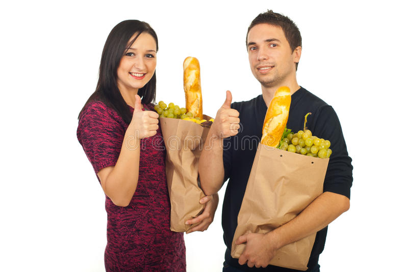 Successful Couple At Shopping Food Royalty Free Stock Photos
